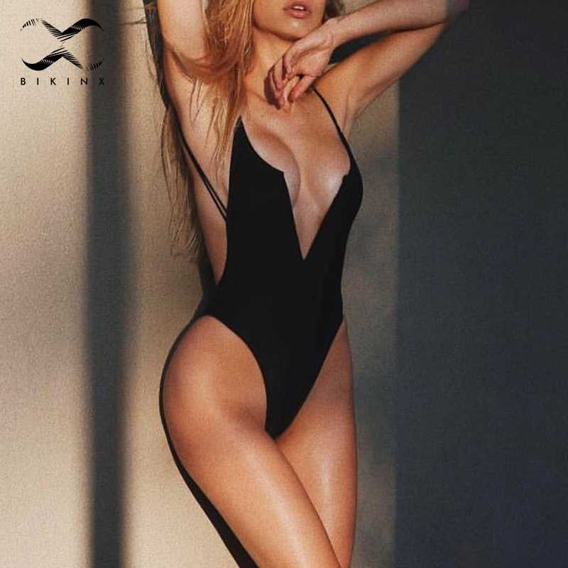14e043981f5 Bikinx Deep v-neck monokini string sexy swimwear women bathing suit Push up one  piece