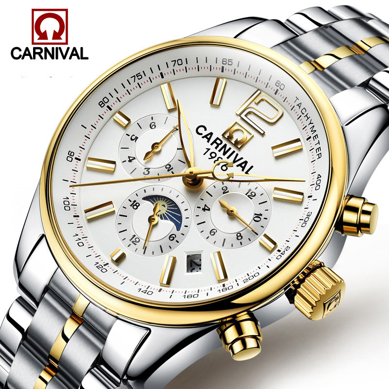 Carnival Automatic Watch Men Business Mechanical Watches Luminous Hands Stainless Steel Mens Wristwatch Clock erkek kol saati yelang v1015 upgrade version khaki number tritium gas yellow luminous men automatic mechanical business watch steel watchband