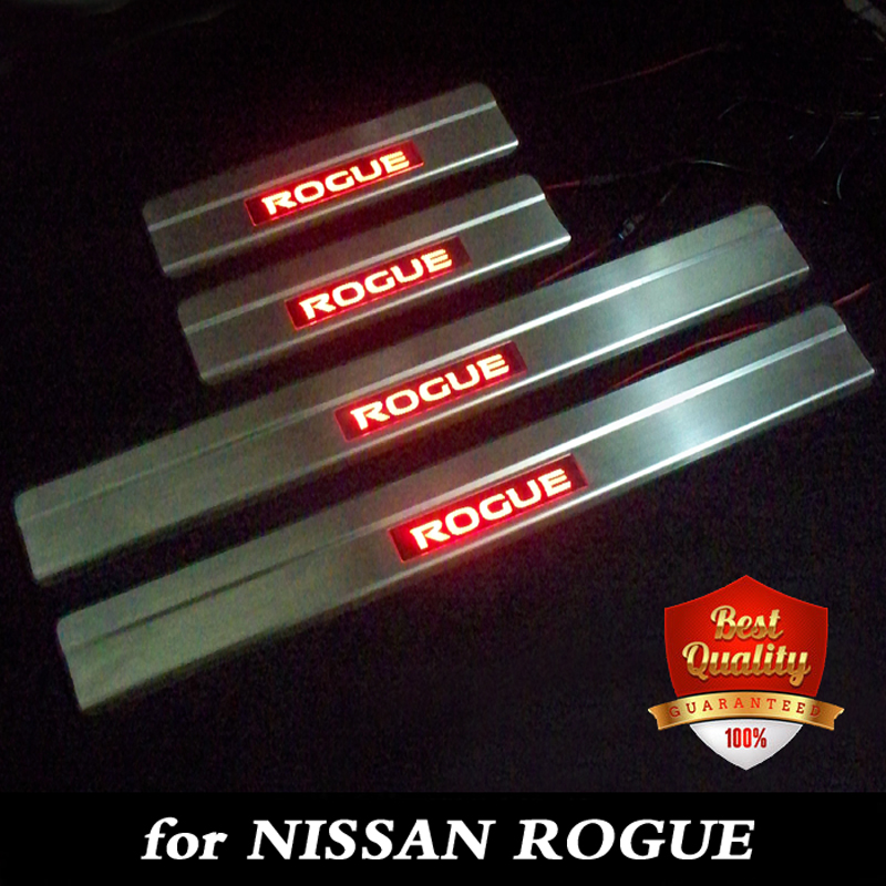 Stainless Steel LED light Door Sill Scuff Plate Door Sill Threshold for NISSAN ROGUE 2015 2019 Red