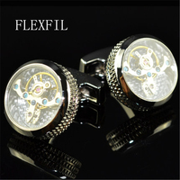 jewelry shirt cufflink for mens 4 colour cuff button watch Mechanical movement cuff link high quality Tourbillon Free Shipping
