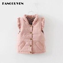 Детский осенне-зимний жилет для девочек из плотного хлопка рюшами воротник пальто Детская одежда Повседневный жилет для девочек