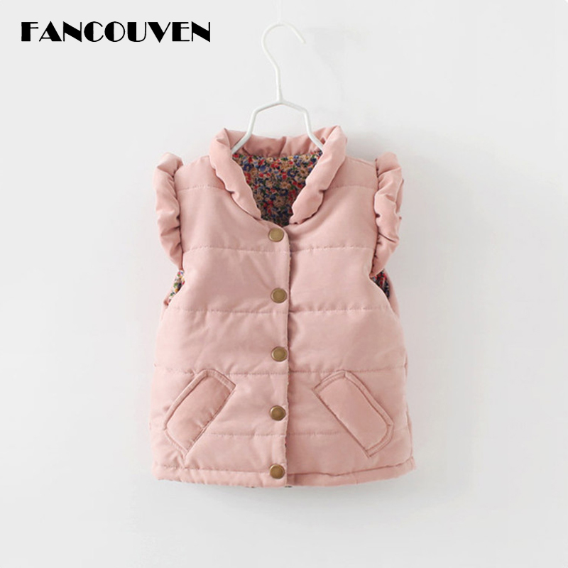 Kids Autumn Winter Vest Girls Thicken Cotton Ruffle Collar Coat Children Clothes Girls Casual Vest stand collar ruffle hem quilted coat