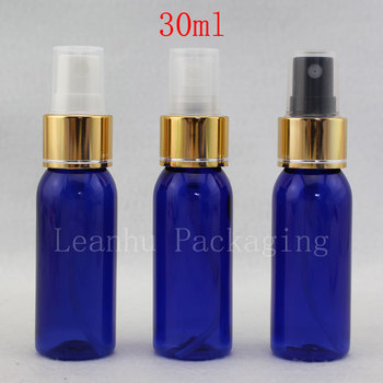 30ML Empty Blue Bottle With Aluminum Gold Spray Pump ,1.0 oz Fine Mist Nozzle Bottle For Personal Care ,Perfume Sprayer Bottles
