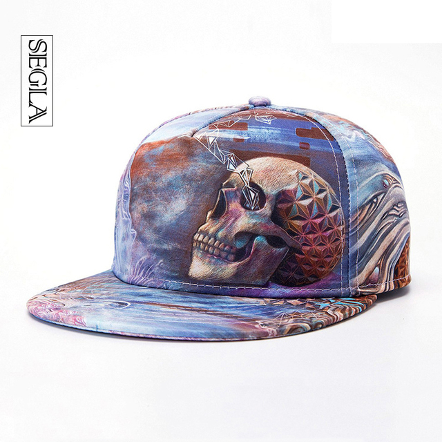 SEGLA 3D Baseball Cap Adjustable Hip Hop Hat Skull Head Ice Snapback Flat Brimmed Street Casquette Sports&Outdoor Unisex Sun Hat