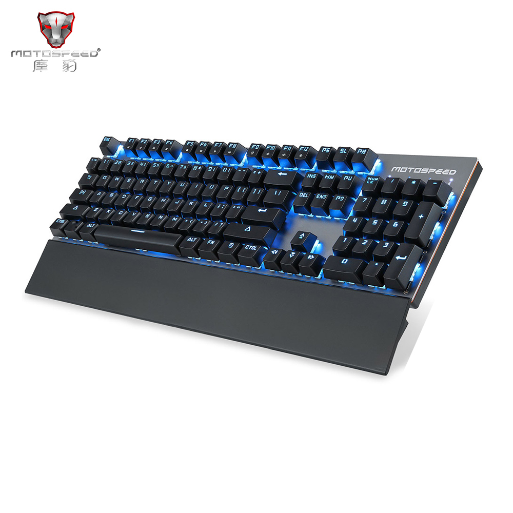 Motospeed GK89 2.4GHz Wireless / USB Wired Mechanical Gaming Keyboard 104Key Singer Color 6 RGB Light Luminous With Hand Rest