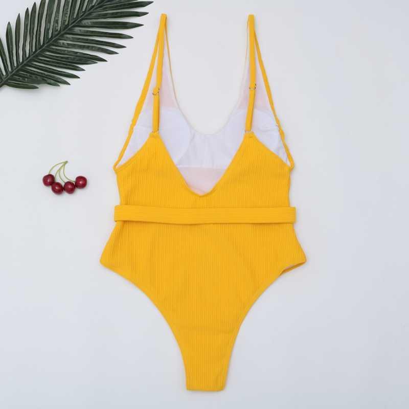 2019, сексуальный цельный купальник, Женское боди с поясом, купальник, монокини, открытая спина, купальник, летняя пляжная одежда, купальник для женщин
