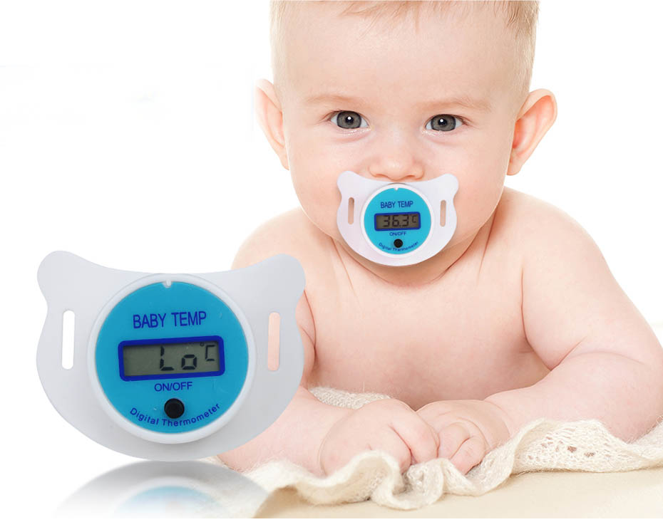 LCD Digital Pacifier Nipple Thermometer for Newborn Baby Kids Mouth Temp Safety
