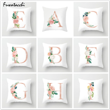 Fuwatacchi Flower 26 Alphabet Throw Pillows Cushion Cover Pink Printed Pillow Sofa Decorative Living Room White Pillowcase