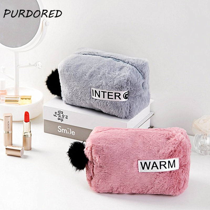 PURDORED 1 Pc Portable Fur Cosmetic Bag Soft Plush Cosmetic Bag Travel Zipper Pouch Storage Organizer With Fur Ball Dropshipping