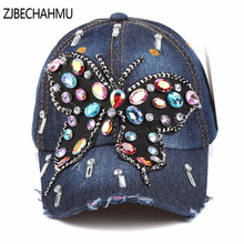 2017 NEW Baseball Cap Women Full Crystal Colorful Big Butterfly Hat Denim Bling Rhinestone Snapback Cap Casquette Summer Hat hot sale hotlinebling snapback sportcap drake hotline bling hat pink 6 panel snapback baseball cap gold denim hat