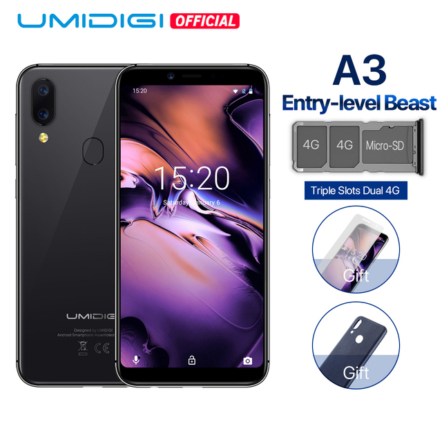 """UMIDIGI A3 Global Band 5.5""""incell HD+display 2GB+16GB smartphone Quad core Android 8.1 12MP+5MP Face Unlock Dual 4G Mobile phone"""