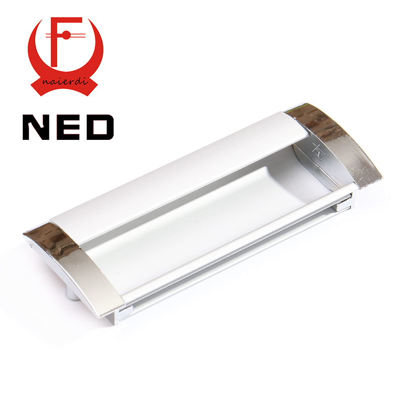 NED Deluxe 128MM Aluminum Alloy Casting Modern Embed Knobs Kitchen Cabinet Cupboard Door Drawer Handles Wardrobe Hidden Pulls