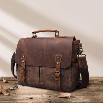 Briefcase Man Handbags Crazy Horse Cowhide splice Canvas Business  Briefcase Retro Totes Crossbody Bags For Men Shoulder Bag