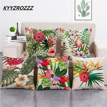 Rainforest Daun Afrika Cotton Linen Tropis Tanaman Hibiscus Flower Lempar Bantal Kasus Parrot kursi / Sofa Cushion Cover