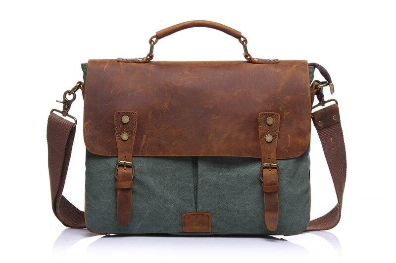 Nesitu Vintage Army Green Grey Khaki Coffee Crazy Horse Leather Canvas Men Briefcase Women Man Messenger Bags Portfolio M1807