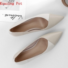 Krazing pot full grain leather slip on women pumps basic design mixed color style pointed toe office lady career wear shoes L77