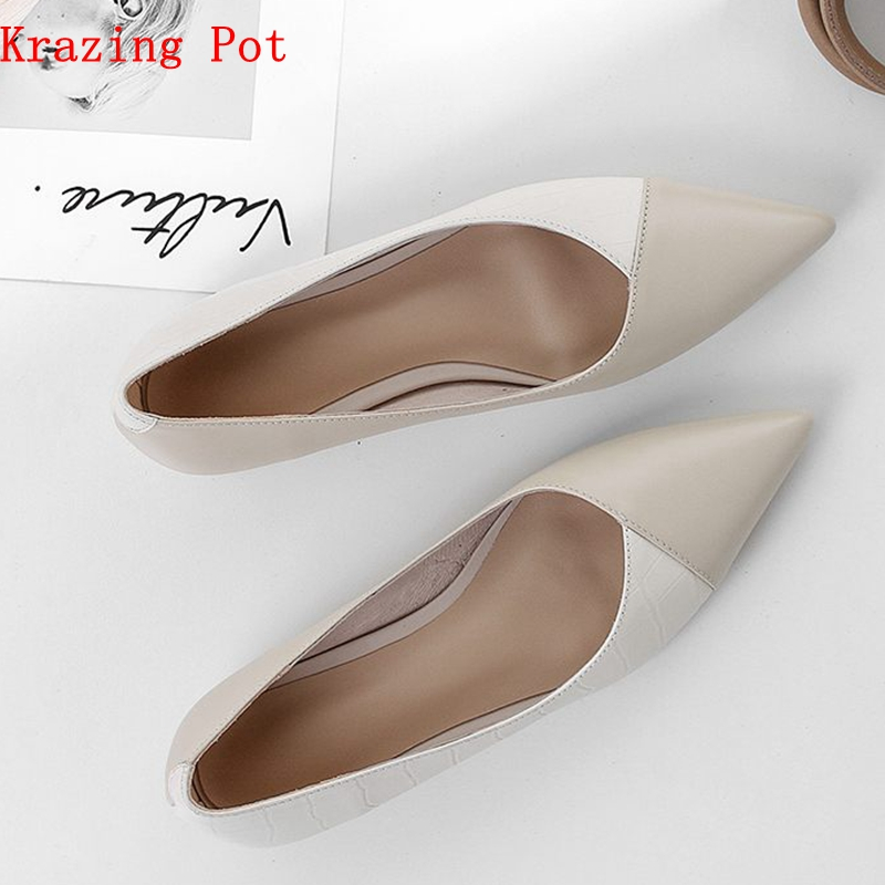 Ayakk.'ten Kadın Pompaları'de Krazing pot tam tahıl deri kadınlar üzerinde kayma pompaları temel tasarım karışık renk stil sivri burun ofis bayan kariyer giyim ayakkabı L77'da  Grup 1