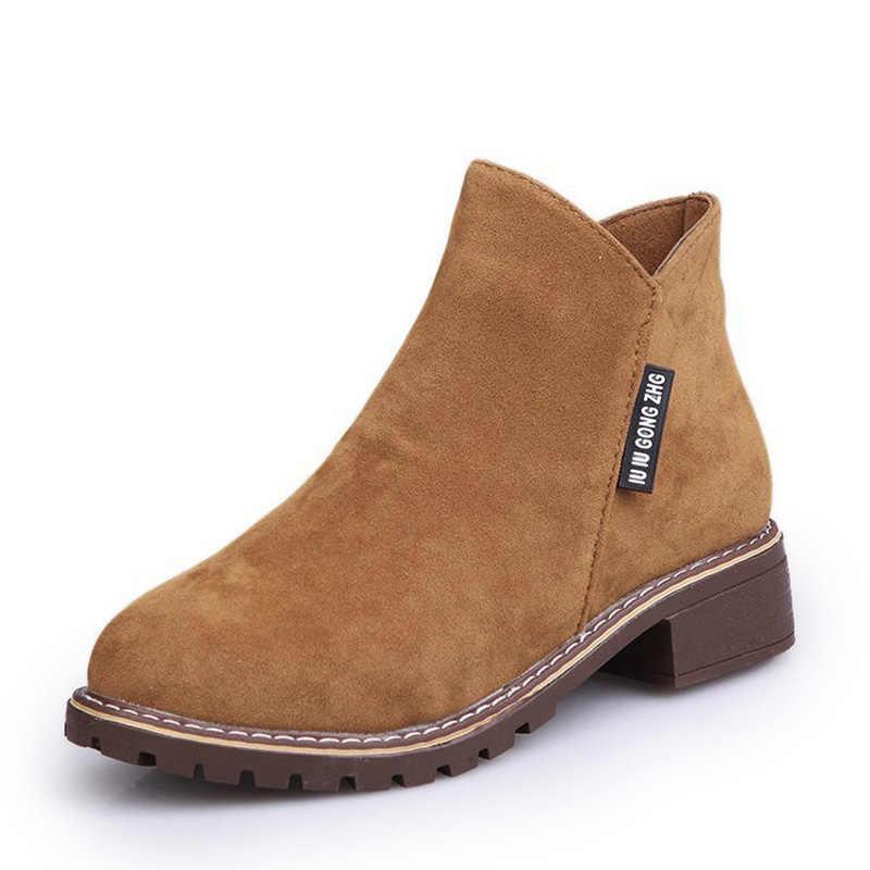 Sahte Süet yarım çizmeler Moda Bayan Botları 2019 Yeni Kış Çizmeler Düşük Topuklu Kadın Ayakkabı Kaymaz iş ayakkabısı Fermuarlı Bayan ayakkabı