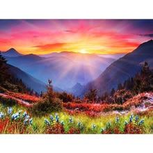 Diamond Embroidery Valley sunset Landscape Handmade Painting Needlework Mosaic Cross Stitch Home Decor
