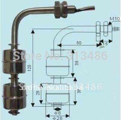 Кривой датчик уровня воды жидкостный Поплавковый выключатель(нержавеющая сталь