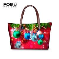 FORUDESIGNS Christmas Decorate Designer Women Handbag Navidad Pattern Female Shoulder Bags High Capacity Casual Tote Bag