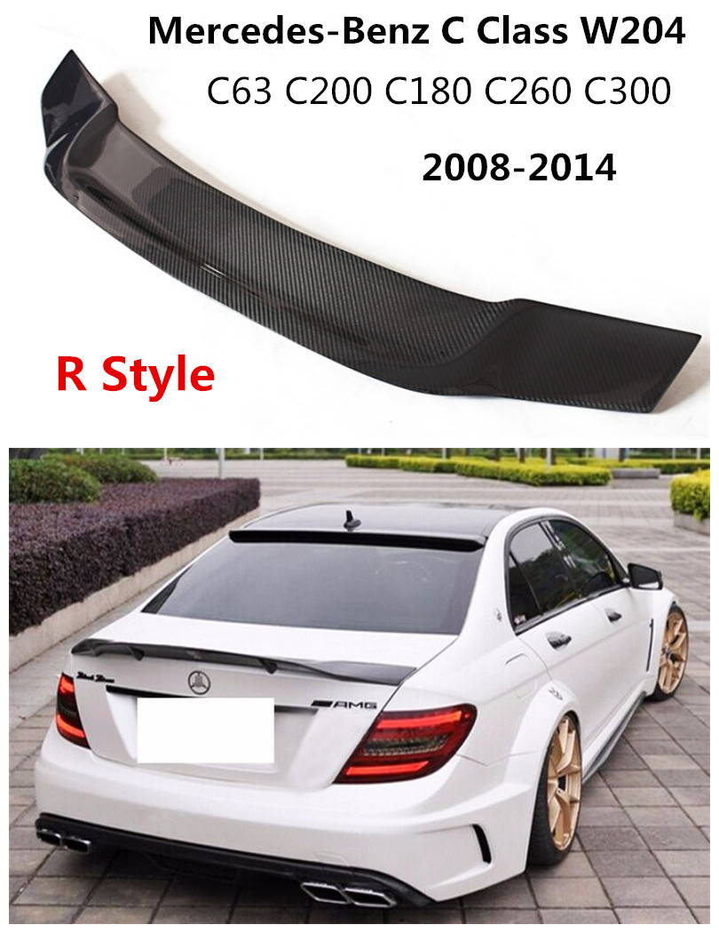 Compatible With 2008-2014 Mercedes-Benz C-Class W204 4 DoorAMG Style Carbon Fiber CF Rear Trunk Spoiler Wing Black