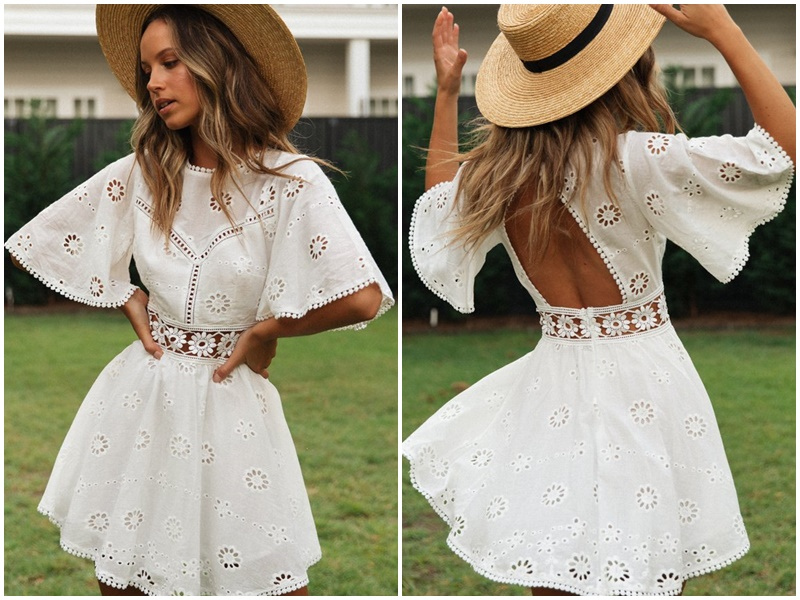 Hollow Out Flare Sleeve Above-Knee Mini Dress 1