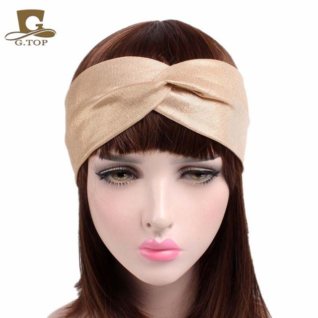 acheter 2017 nouvelle mode lastique stretch twist bandeau turban turban. Black Bedroom Furniture Sets. Home Design Ideas