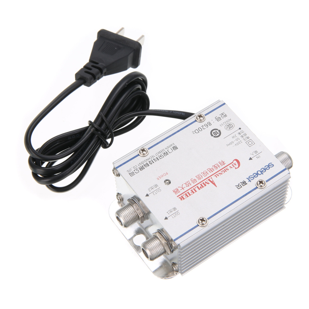New Arrival 1pc 2Way CATV VCR TV Antenna Signal Amplifier 220V 45-860MHz Booster Splitter for Home TV Accessories