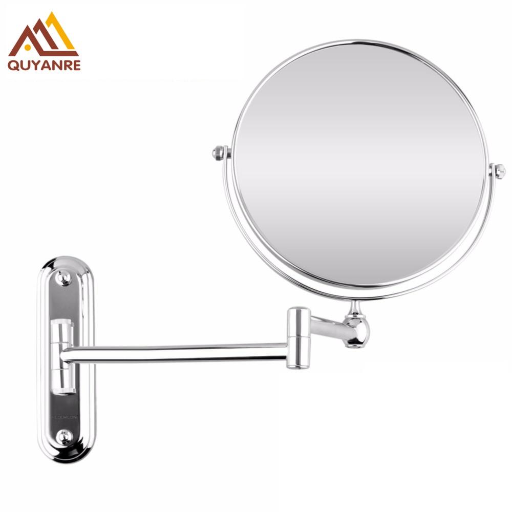 Bathroom Wall Mounted Extended Folding Arm Make up Mirror Magnifying Bathroom Mirror Chrome Dual цена 2017