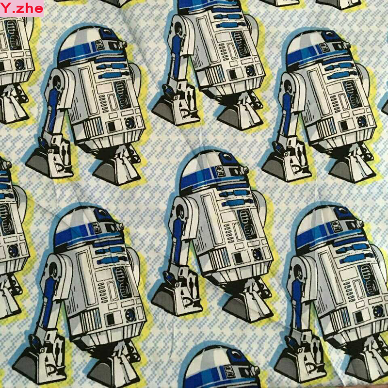 Wide 140cm Cartoon Robot Star War Fabric 100% Bomull Satin Fabric Quilting Hem Cloth Textil Patchwork DIY Sömnad Baby Kläder