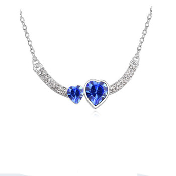 Double Crystal Heart Pendant Necklace 2