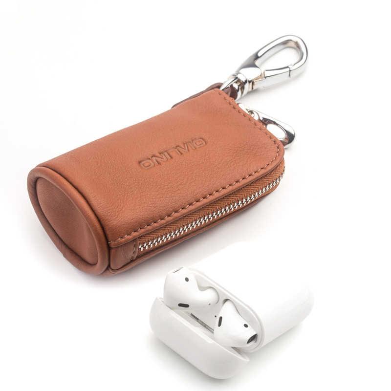 QIALINO mode Portable en cuir véritable Mini housse de poche pour Apple AirPods Simple chargement clés de voiture et pièce de monnaie sac en peau de vache