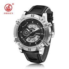 OHSEN Watch Men Sport Quartz Watches 30M Leather Casual Sport Men Clock Top Brand Luxury Role Men Watch