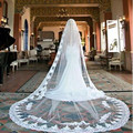 3 M long 3M Width Vintage Style Cathedral Long Lace Appliques One Layer Wedding Dresses Veil Custom Made Bridal Veil with Comb