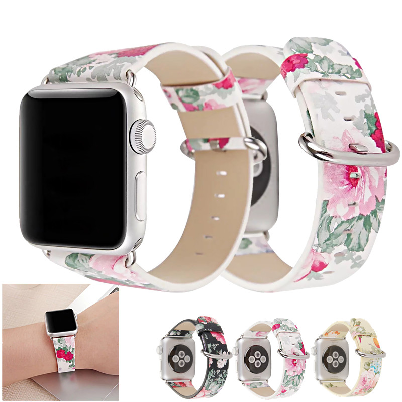 For Apple Watch Band 38mm 42mm Soft PU Leather Floral Flower Pastoral Strap Wrist Band For iWatch Series 3 Series 2 Series 1 living room white magnolia pattern curved 3d tv background wall manufacturers wholesale wallpaper mural custom photo wall