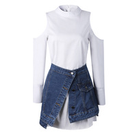 2018 Early Autumn Women Set New White Shirt Skirt Denim Skirt Two Piece Set Boyfriend Wind