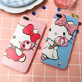 Rosa dos desenhos animados hello kitty borda suave capa case para iphone 7/6 6 s 7 mais rígido de volta phone cases hellokitty coque anel fivela