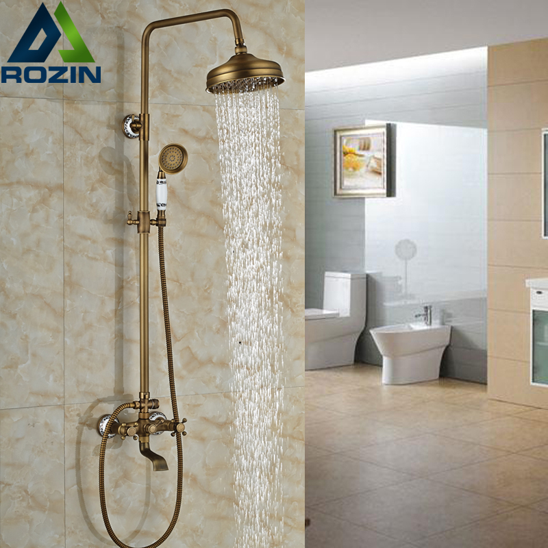 Brass Antique Dual Cross Handles 8 Rain Shower Set Wall Mounted Swivel Tub Filler Shower Mixer Taps with Hand Shower shower faucet wall mounted antique brass bath tap swivel tub filler ceramic style lift sliding bar with soap dish mixer hj 67040
