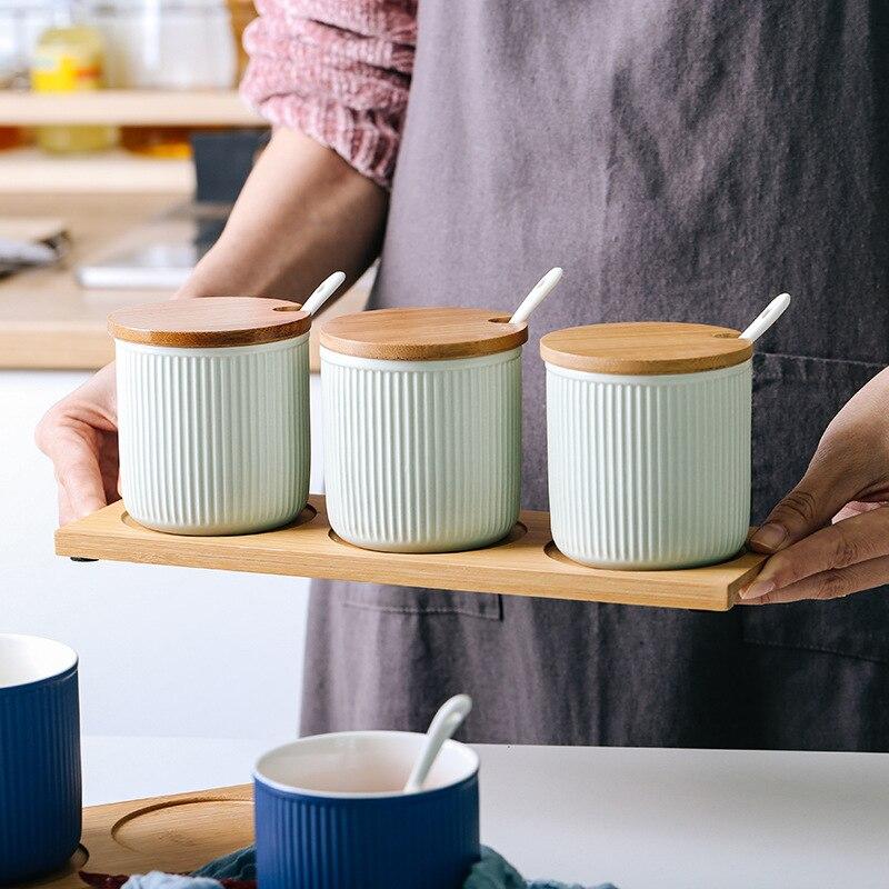 Ceramic Seasoning Jar Creative Color Glaze Ceramic Seasoning Jar Combination Set Kitchen Seasoning Box Three piece Household