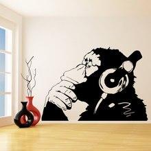 Banksy Vinyl Wall Decal Monkey With Headphones Chimp Listening to Music in Earphones Street Graffiti Stickerl Mural W-23