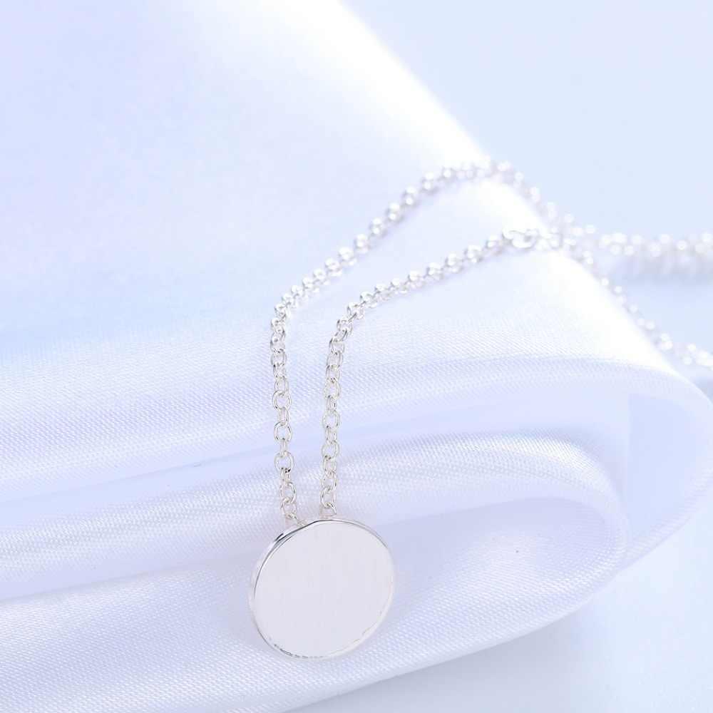 Chandler srebrny złoty kolor płyty okrągłe zwykły naszyjniki i wisiorek dla kobiet Plat polerowane małe Charm komunikat proste akcesoria