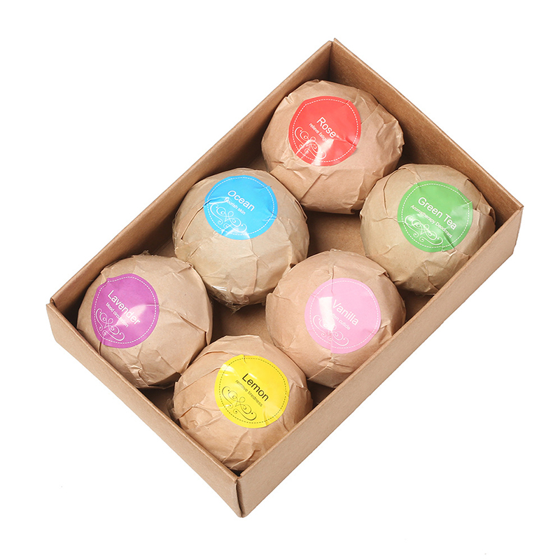 Natural Bath Bombs Bubble Bath Products Essential Oil Handmade SPA Stress Relief Exfoliating Mint Lavender Rose Flavor 6pcs/box