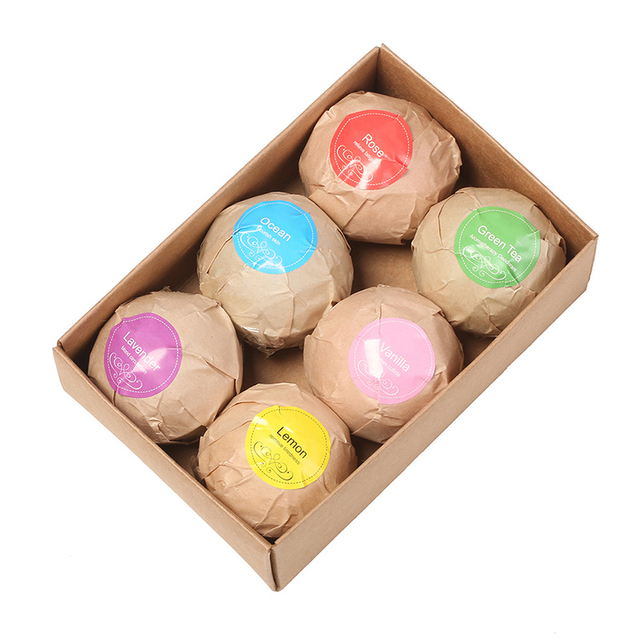 Natural Bath Bombs Bubble Bath products Essential Oil Handmade SPA Stress Relief Exfoliating Mint Lavender Rose Flavor 6pcs/box
