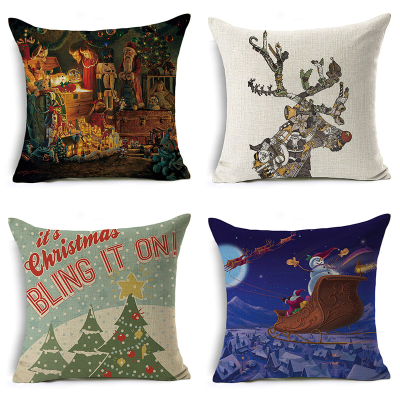 Monily Merry Christmas Tree Pillow Cover Santa Claus Snowman Cushion Cover Letters Decorative Throw Pillow Case Sofa Home Decor