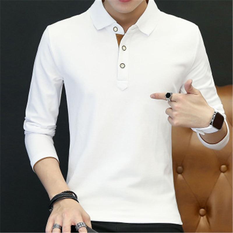 2018 New Fashion Men Polo Shirts Long sleeve Solid color Slim Fit Cotton Mens Polos Shirt M-3XL Male Clothing 2