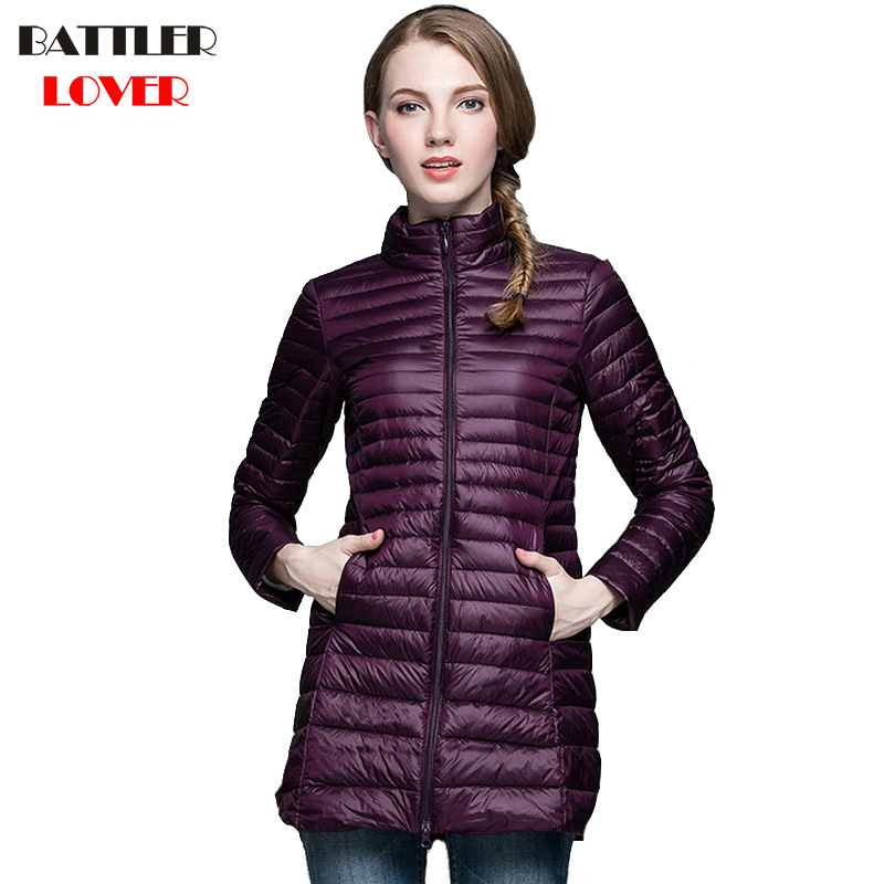 2018 Winter Women Ultra Light Down Jacket 90% Duck Down Long Jackets Long Sleeve Warm Coats Womens Parka Female Portabl Outwear