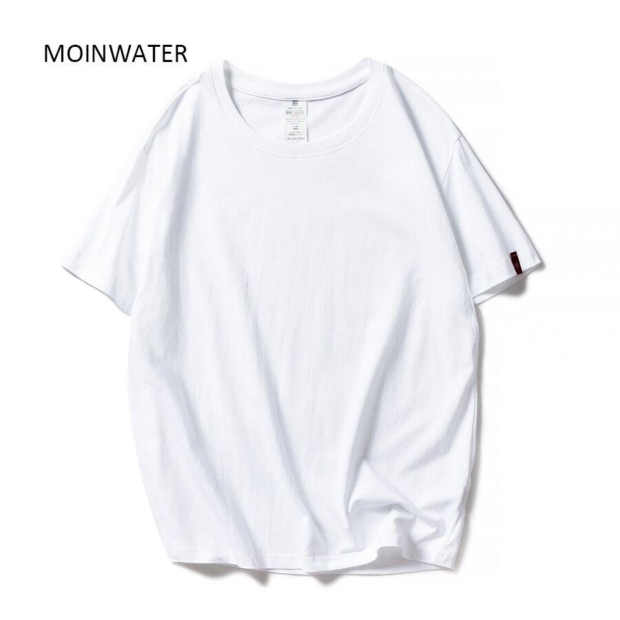 MOINWATER Neue Frauen Schwarz Weiß T-shirts Dame Solide Baumwolle T-shirts Kurzarm T shirts Weibliche Sommer Tops für Frau MT1901