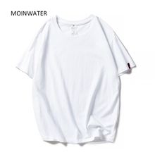MOINWATER New Women Black White Tshirts Lady Solid Cotton Tees Short Sleeve T