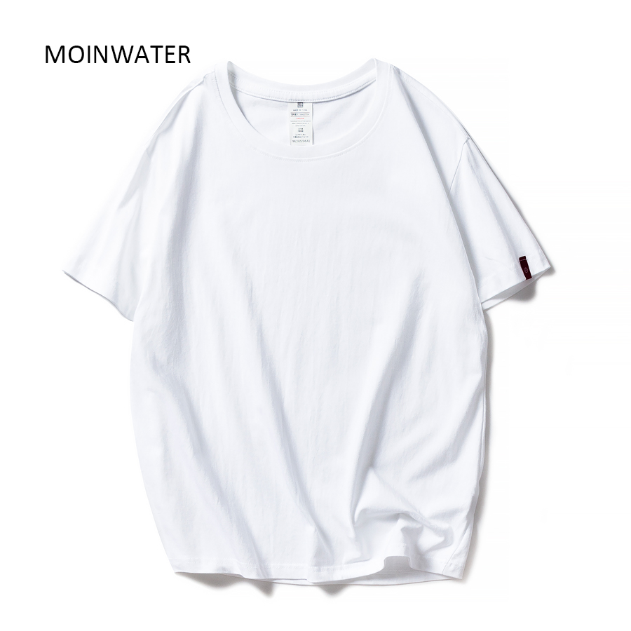 MOINWATER New <font><b>Women</b></font> Black White Tshirts Lady Solid <font><b>Cotton</b></font> Tees Short Sleeve T <font><b>shirts</b></font> Female Summer Tops for Woman MT1901 image